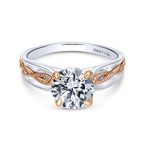 Gabriel - Alejandra 18k White And Rose Gold Round Straight Engagement Ring