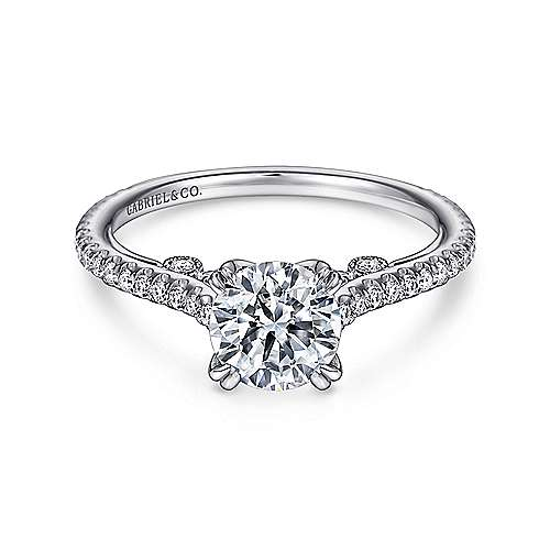 Alexandra 18k White Gold Round Straight Engagement Ring angle 1