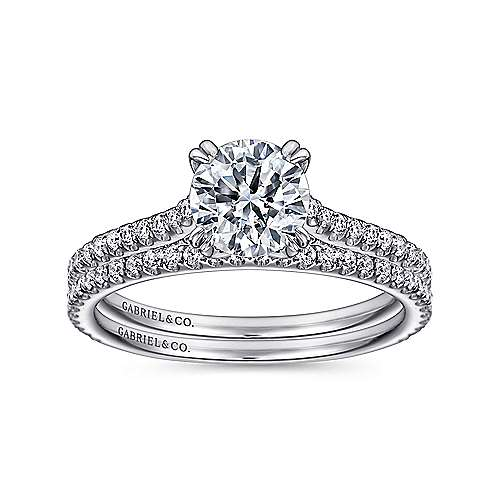 Alexandra 18k White Gold Round Straight Engagement Ring angle 4
