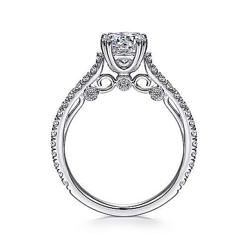 Alexandra 18k White Gold Round Straight Engagement Ring angle 2