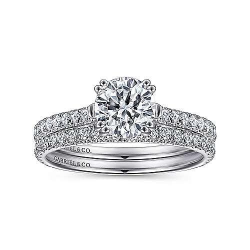 Alexandra 18k White Gold Round Straight Engagement Ring angle 4
