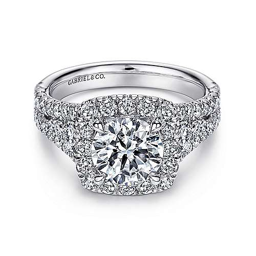Gabriel - Alexia 14k White Gold Round Halo Engagement Ring