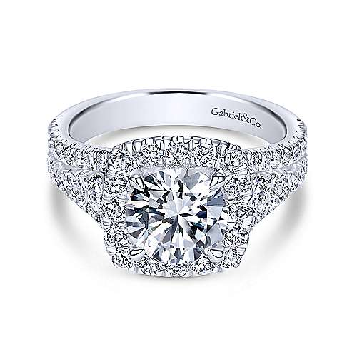 Gabriel - Alexia 18k White Gold Round Halo Engagement Ring