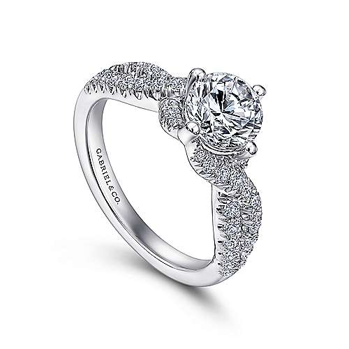 Alexis 14k White Gold Round Twisted Engagement Ring angle 3
