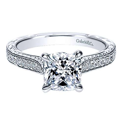 Gabriel - Alice 14k White Gold Cushion Cut Straight Engagement Ring