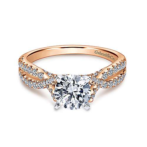 Gabriel - Alicia 14k White And Rose Gold Round Twisted Engagement Ring