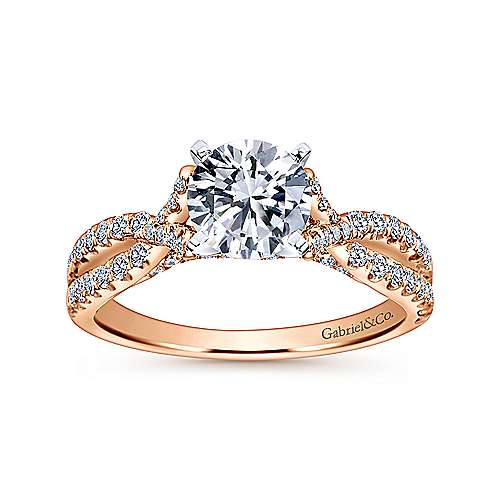 Alicia 14k White And Rose Gold Round Twisted Engagement Ring angle 5
