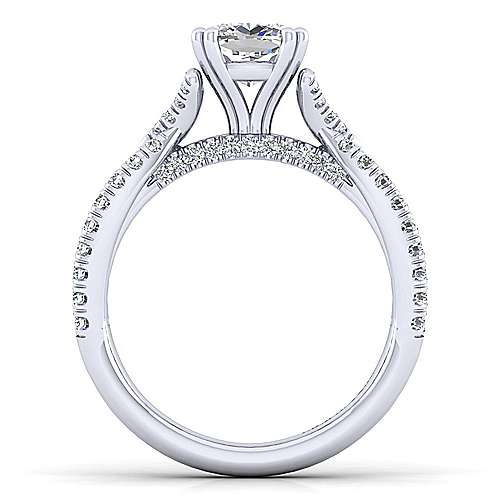 Alicia 14k White Gold Cushion Cut Twisted Engagement Ring angle 2