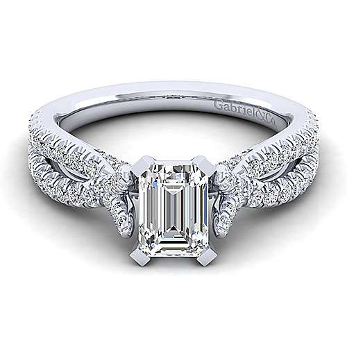 Gabriel - Alicia 14k White Gold Emerald Cut Twisted Engagement Ring