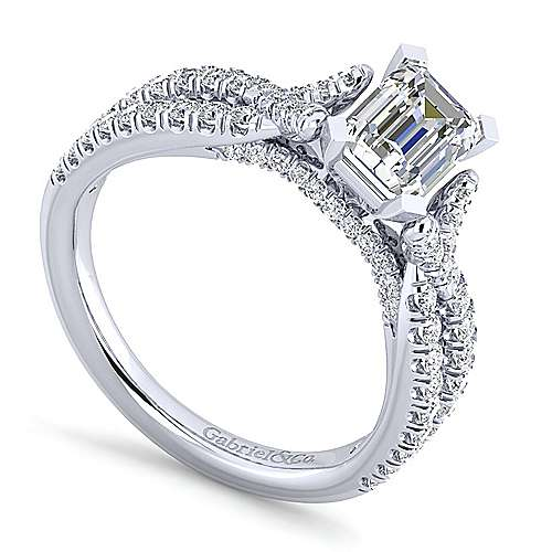 Alicia 14k White Gold Emerald Cut Twisted Engagement Ring angle 3
