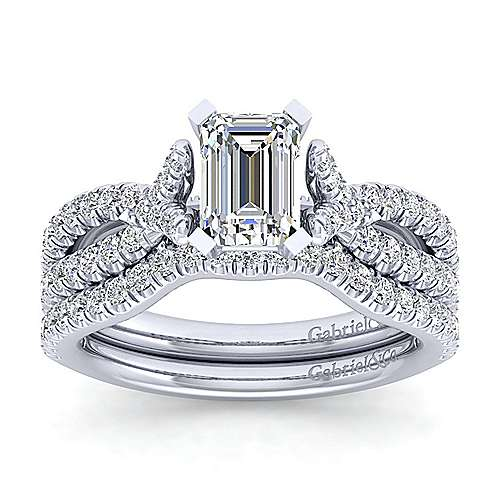 Alicia 14k White Gold Emerald Cut Twisted Engagement Ring angle 4