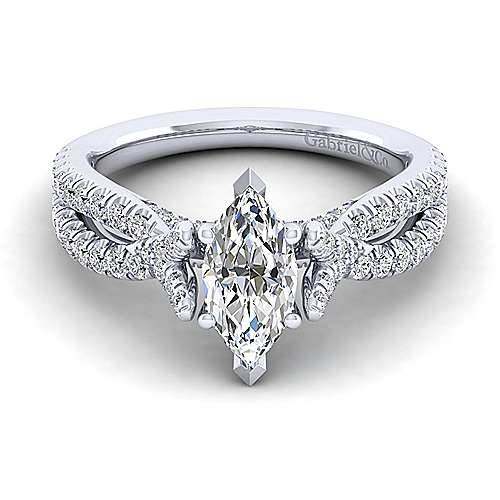 Gabriel - Alicia 14k White Gold Marquise  Twisted Engagement Ring