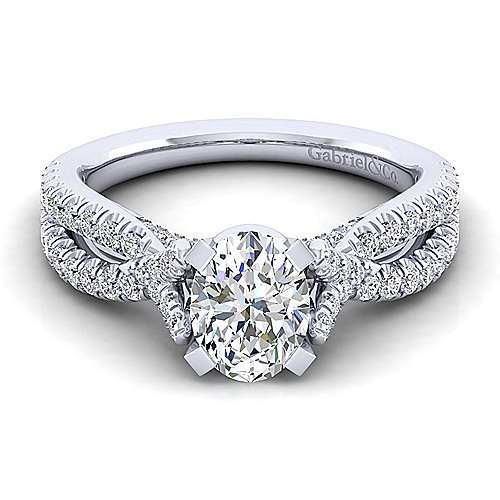 Alicia 14k White Gold Oval Twisted Engagement Ring