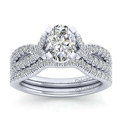 Alicia 14k White Gold Oval Twisted Engagement Ring angle 4