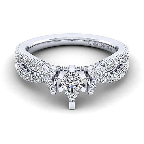 Gabriel - Alicia 14k White Gold Pear Shape Twisted Engagement Ring