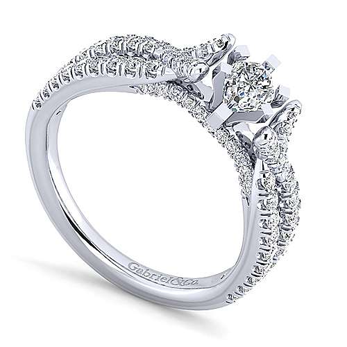 Alicia 14k White Gold Pear Shape Twisted Engagement Ring angle 3