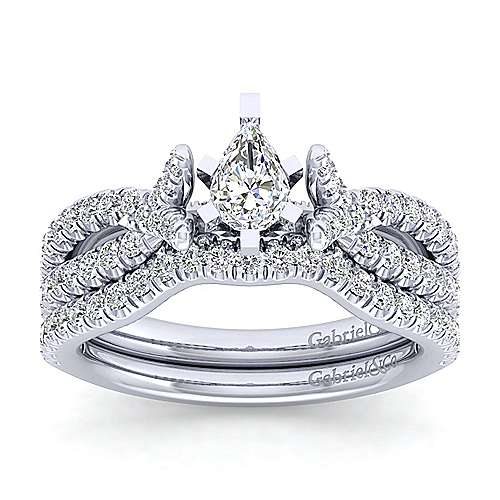 Alicia 14k White Gold Pear Shape Twisted Engagement Ring angle 4