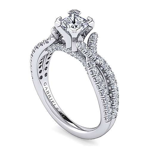 Alicia 14k White Gold Princess Cut Twisted Engagement Ring angle 3