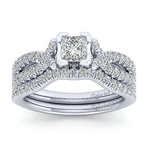Alicia 14k White Gold Princess Cut Twisted Engagement Ring angle 4