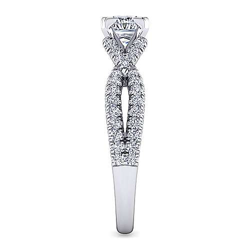 Alicia 14k White Gold Princess Cut Twisted Engagement Ring angle 5