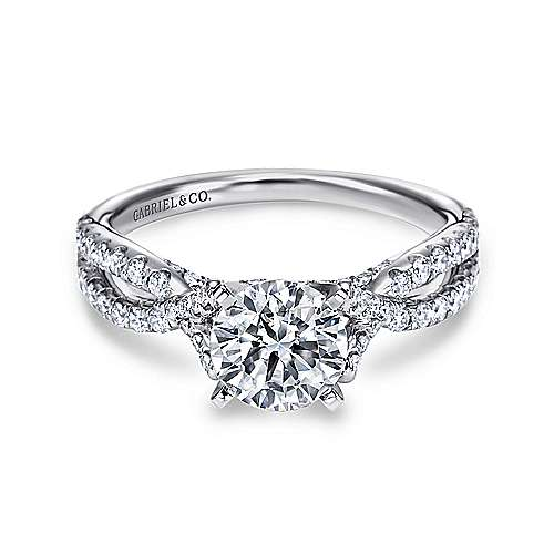 Gabriel - Alicia 14k White Gold Round Twisted Engagement Ring
