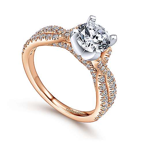 Alicia 14k White/rose Gold Round Twisted Engagement Ring angle 3