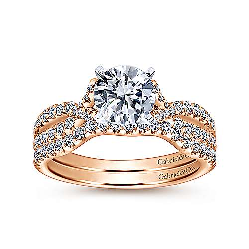 Alicia 14k White/rose Gold Round Twisted Engagement Ring angle 4