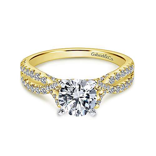 Gabriel - Alicia 14k Yellow And White Gold Round Twisted Engagement Ring