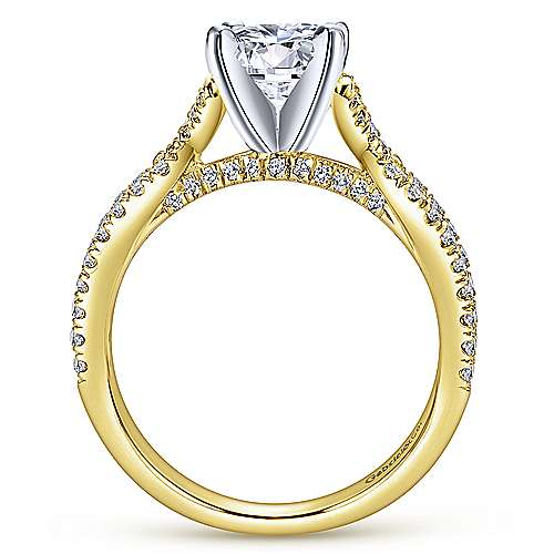 Alicia 14k Yellow And White Gold Round Twisted Engagement Ring angle 2