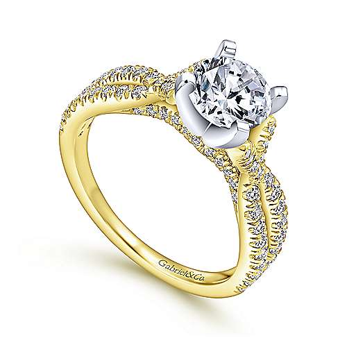 Alicia 14k Yellow And White Gold Round Twisted Engagement Ring angle 3
