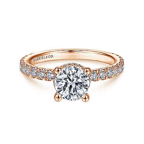 Gabriel - Alina 14k Rose Gold Round Straight Engagement Ring