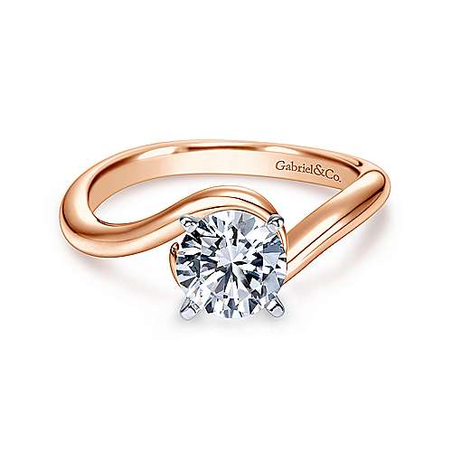 Gabriel - Alira 14k White And Rose Gold Round Bypass Engagement Ring