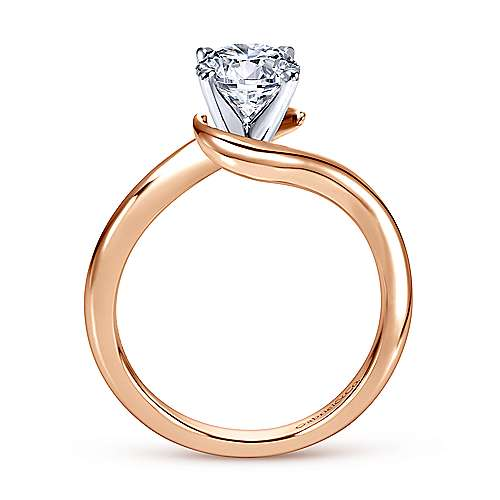 Alira 14k White And Rose Gold Round Bypass Engagement Ring angle 2