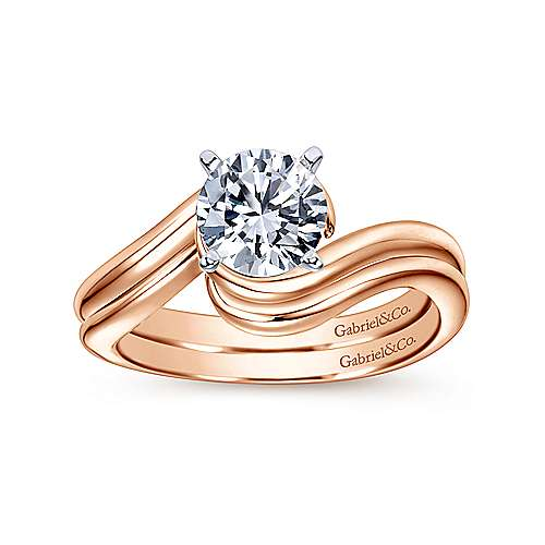 Alira 14k White And Rose Gold Round Bypass Engagement Ring