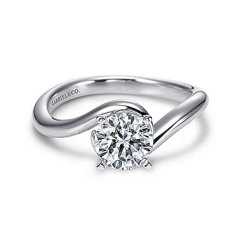 Alira 14k White Gold Round Bypass Engagement Ring angle 1