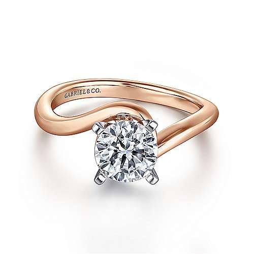 Gabriel - Alira 14k White/pink Gold Round Bypass Engagement Ring