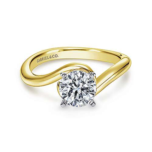 Gabriel - Alira 14k Yellow And White Gold Round Bypass Engagement Ring