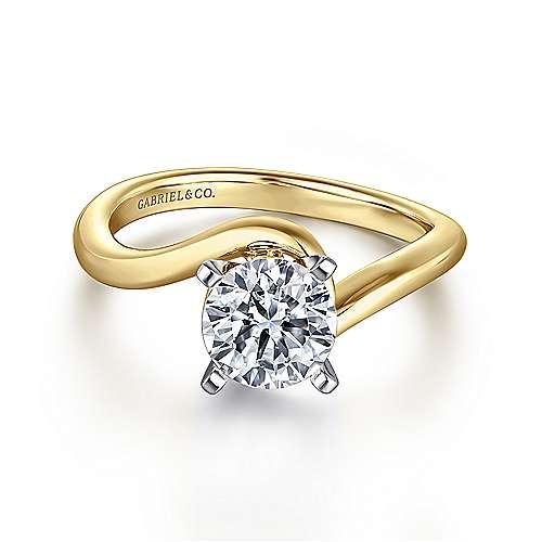 Gabriel - Alira 14k Yellow/white Gold Round Bypass Engagement Ring