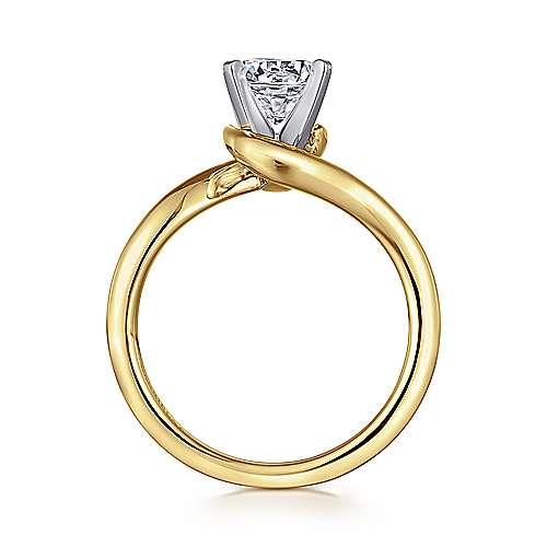 Alira 14k Yellow/white Gold Round Bypass Engagement Ring angle 2