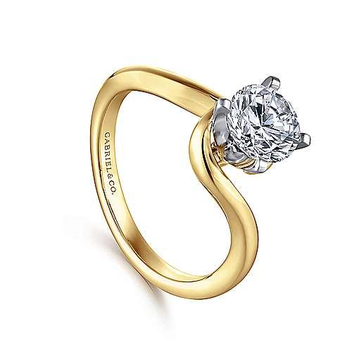 Alira 14k Yellow/white Gold Round Bypass Engagement Ring angle 3