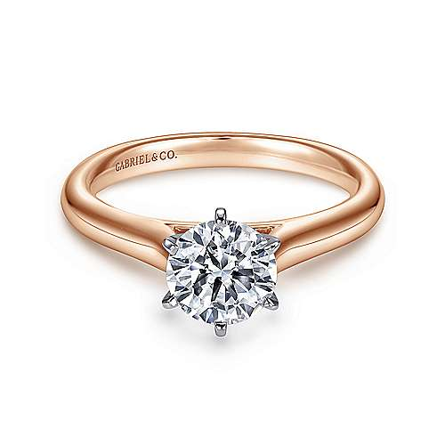 Gabriel - Allie 14k White And Rose Gold Round Solitaire Engagement Ring