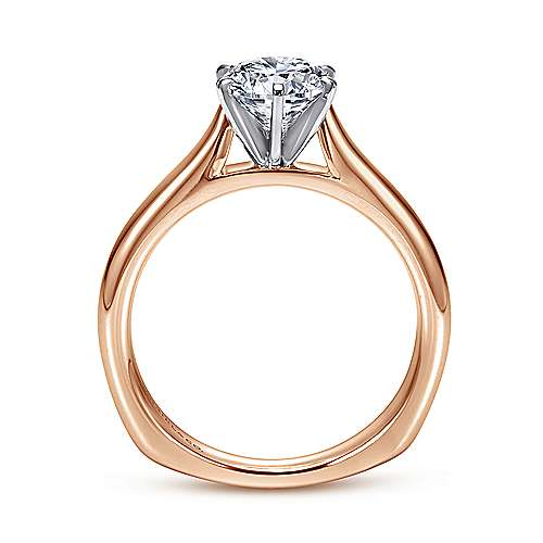 Allie 14k White And Rose Gold Round Solitaire Engagement Ring angle 2