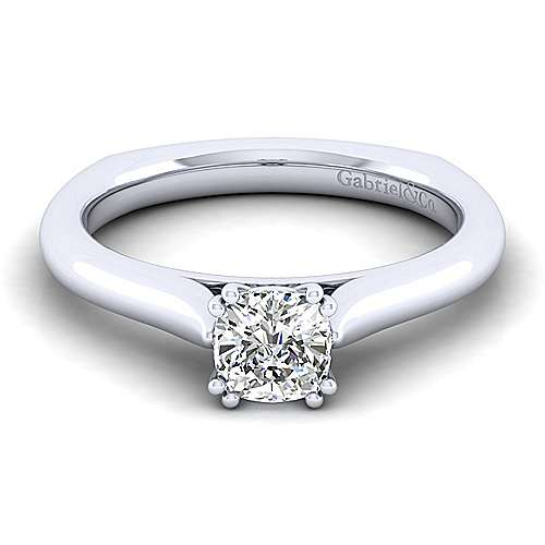 Gabriel - Allie 14k White Gold Cushion Cut Solitaire Engagement Ring
