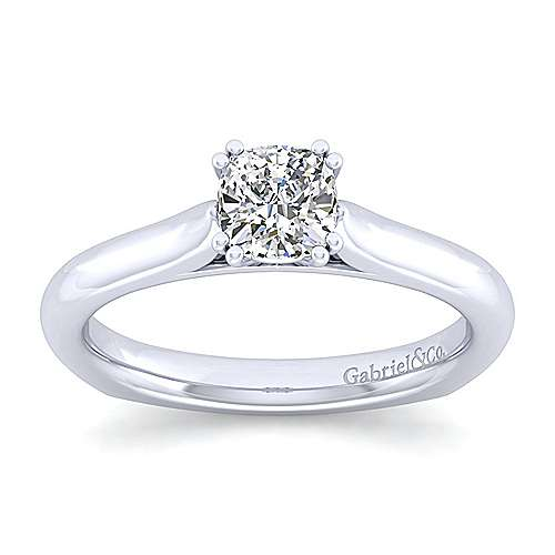 Allie 14k White Gold Cushion Cut Solitaire Engagement Ring angle 5