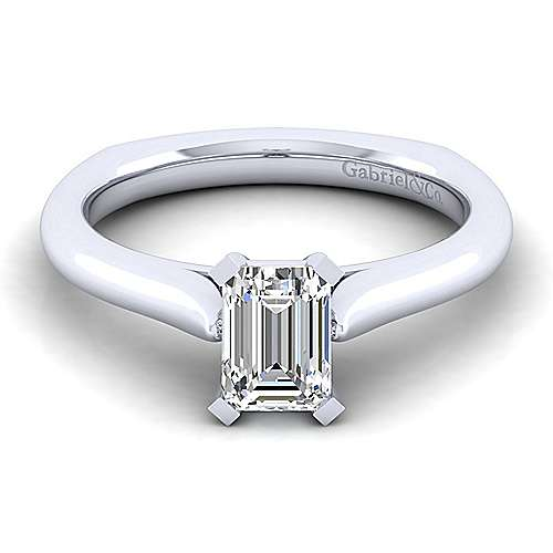 Gabriel - Allie 14k White Gold Emerald Cut Solitaire Engagement Ring