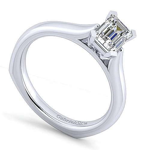 Allie 14k White Gold Emerald Cut Solitaire Engagement Ring angle 3