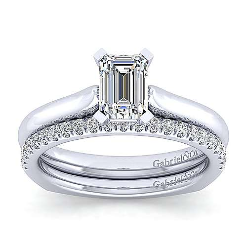 Allie 14k White Gold Emerald Cut Solitaire Engagement Ring angle 4