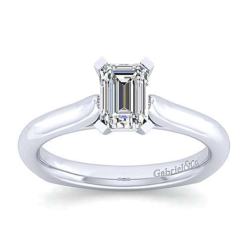 Allie 14k White Gold Emerald Cut Solitaire Engagement Ring angle 5