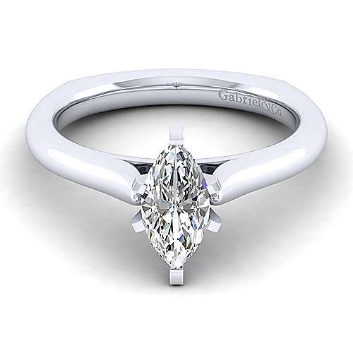 Gabriel - Allie 14k White Gold Marquise  Solitaire Engagement Ring