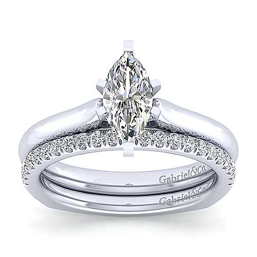 Allie 14k White Gold Marquise  Solitaire Engagement Ring